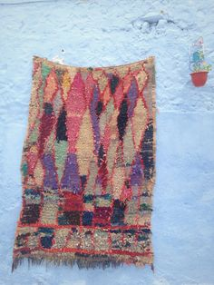 "APSTARCT DIAMOND Moroccan Boucherouite rug , Moroccan tapis 5'1"" *7'7"""