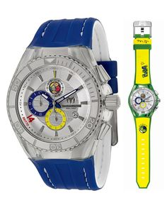 """TechnoMarine Unisex 114023C Cruise Brazil """"Tribute to Soccer"""" Interchangeable Strap Watch Set. Designed by Romero Britto, Brazilian Pop Artist and 2014 FIFA World Cup ambassador. Be part of the soccer tournament in Brazil with TechnoMarine and Britto. Perfect gift for any soccer fan. Includes additional, interchangeable strap and case cover. Water resistant to 660 feet (200 M): suitable for recreational scuba diving."""