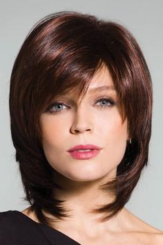 Layered Medium Capless Ladylike Shaggy Natural Straight Side Bang Human Hair Wig For Women Long Face Hairstyles, Haircuts For Fine Hair, Wig Hairstyles, Updos Hairstyle, Hairstyle Ideas, Medium Hair Styles, Curly Hair Styles, Rene Of Paris Wigs, Best Human Hair Wigs