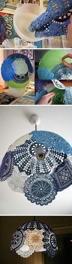 diy doily lamp shade - an idea for my mom who owns hundreds of doily's.