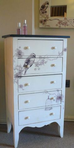 Cream bird design tallboy £254.95 from Melody Maison