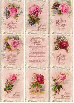 Vintage Rose Cards free Printables