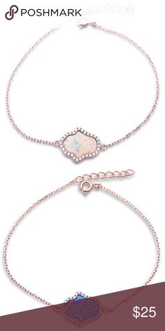 """Sterling Silver Hamsa White, Blue Opal Bracelet💕 Guaranteed Sterling silver. Beautiful Hamsa lab Created Opal Design. Hamsa Measurements: 14mm Available in White Opal and Blue Opal. Bracelet Chain 7"""" plus 1 inch extension. Finish : Rose Gold Plated and Rhodium for anti Tarnish. Reasonable Offers are welcome, Bundle to save. Brand New. Jewelry Bracelets"""