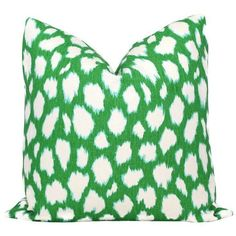 """20"""" x 20"""" Kelly Green Leocat Pillow Cover ($66) ❤ liked on Polyvore featuring home, home decor, throw pillows, pillows, green home accessories, green accent pillows, zippered throw pillows, handmade home decor and dog home decor"""