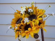 BOUTINERS WITH SUNFLOWERS | ... sunflower bouquet and boutonniere rustic sunflower boutonnieres large