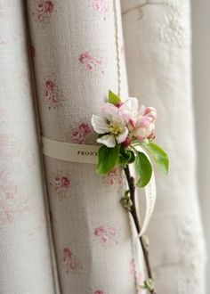 Peony and Sage - French Florals Fabric Collection - A pink flower placed on a scroll of pink and cream floral fabric tied with a ribbon, beside off-white embroidered fabric Floral Fabric, Linen Fabric, Cotton Fabric, Textiles, Linens And Lace, Rose Cottage, White Cottage, Vintage Fabrics, Rose Buds
