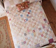 Items similar to Vintage antique patchwork quilt - very pretty french fabrics on Etsy