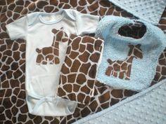 Baby Boy Gft Set - Blue Giraffe - Onesie, Bib, Burp Cloth and Blanket -Feature in Treasury - FREE SHIPPING. $68.00, via Etsy.