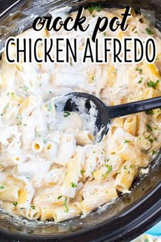 Lusciously creamy, easy to make, and a family favorite dinner! This Crock Pot Chicken Alfredo is great for serving a crowd, or store half in the freezer to reheat later! Crock Pot Chicken Alfredo Recipe, Chicken Bacon Alfredo, Cooking For A Crowd, Food For A Crowd, Baked Whole Chicken Recipes, Pasta Recipes, Dinner Recipes, Crockpot Recipes, Crock Pot Sandwiches