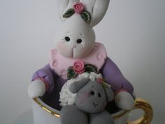 Easter Bunny in a Tea Cup with a lamb by Helen's by HelensClayArt, $15.95