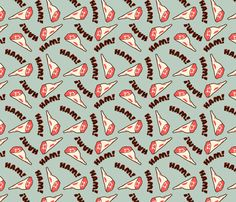 HAM! fabric by thirdhalfstudios on Spoonflower - custom fabric  I can't stop thinking about a dress made out of this!