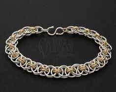 Argentium Sterling and Yellow Gold-Filled Helm Weave Bracelet Woven Bracelets, Chainmaille, Anklet, Solid Gold, Weave, Studios, Jewelry Making, Yellow, Silver