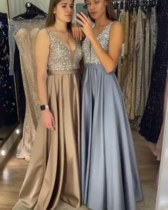 stunning satin long evening dresses with sikver sequins bodice shown in champagne and dusty blue color! Prom Dresses Long Pink, Wedding Dresses For Girls, Boho Wedding Dress, Wedding Party Dresses, Homecoming Dresses, Girls Dresses, Bridesmaid Dresses, Asian Prom Dress, Asian Wedding Dress Pakistani
