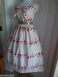 vintage 50s pink novelty rose bud full skirt bow sundress  #50sFashion