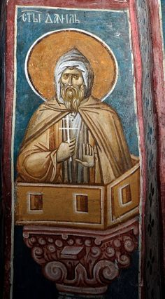 Whispers of an Immortalist: Icons of the Venerables 5 Religious Pictures, Religious Icons, Religious Art, Byzantine Icons, Byzantine Art, St Daniel, Fresco, Best Icons, Art Icon