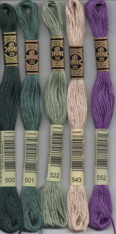 DMC six-stranded embroidery floss 500 series. Floss contains 8.7 yards each. 500 - Blue Green - Very Dark; 501 - Blue Green - Dark; 502 - Blue Green; 503 - Blue Green - Medium; 504 - Blue Green - Very Light; 505 - Jade Green; 517 - Wedgwood - Dark; 518 - Wedgwood - Light; 519 - Sky Blue; 520 - Fern Green - Dark; 522 - Fern Green; 523 - Fern Green - Light; 524 - Fern Green - Very Light; 535 - Ash Gray - Very Light; 543 - Beige Brown - Ultra Very Light; 550 - Violet - Very Dark; 552 - Violet…