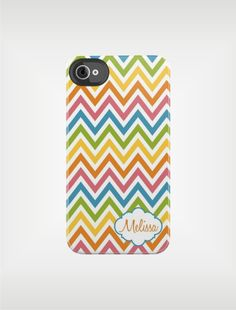 Personalized Chevron Tough iPhone Case 4 / 4S or 3G - Rainbow Stripes - Custom Designed Cover - original design by a drop of golden sun.