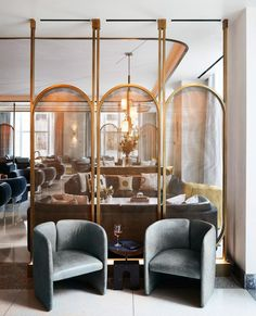 hotel lounge The entry for Aster Halls Bar amp; Study - screens and custom lounge chairs from our AvroKO goodshopmanufacturies Lounge Design, Cafe Design, Design Hotel, Design Interiors, Top Interior Designers, Commercial Interior Design, Bar Interior Design, Architecture Restaurant, Interior Architecture