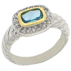 World Class Brilliance with Russian Formula Cubic Zirconia Stones Two-Tone yellow and white gold overlay Aquamarine RN4497