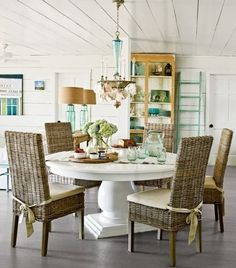 22 Pedestal Tables for Dining or Entry Room Interiorforlife.com love how bright this cottage country style dining room is perfect for eatin kitchen using the white ikea pedestal table