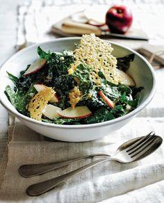 Kale with Quick-Pickled Apple, Gruyere Crisps, and Creamy Dijon Vinaigrette #salad #kalesalad #quickpickledapple #pickledapple #gruyerecrisps #foodielicious #foodieliciousblog #foodrecipe #recipe #chefboyarme #wannabechef