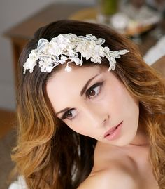 Gold, Ivory Bridal Headpiece, Lace Wedding Hair Comb, Pearl Headpiece, Wedding Hair Accessories - IVONNE design on Etsy, $106.00