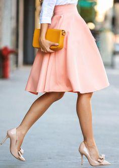 Pink High Waist Flare Skirt -SheIn(Sheinside)