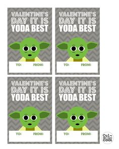 DIY PRINTABLE COOL HEART WARS VALENTINE'S DAY CARDS--'YODA BEST'