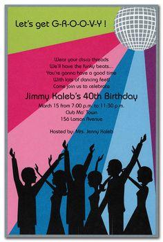 disco dance party invitation disco ball birthday invitation 70s 80s