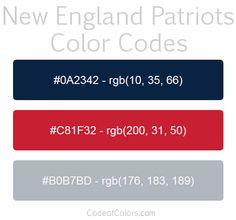 Team Colors of the New England Patriots. Hexadecimal and RGB Codes for the New England Patriots Logo. Hex and RGB Color Palette Schemes for the New England Patriots Jerseys. What colors are the New England Patriots?