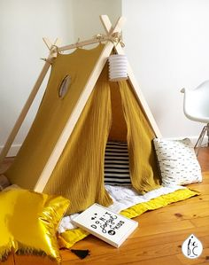 diy tente , diy teepee, fort, kid's room home décor, kids decor - Schönsten Deko-Ideen Diy Tipi, Diy Teepee Tent, Kids Tents, Teepee Kids, Teepees, Diy Bebe, Kids Decor, Diy Crafts For Kids, Kids Furniture