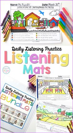 Help kids practice and build their listening and reading skills and following instructions at school daily with Listening Mats. The activities are great for whole group or small group instruction, homework, guided reading, literacy centers, fast finishers, and morning work.