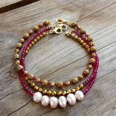 #newentry #autumn #gold #hematite #pearl #ruby #semiprecious #beautiful #bracelets Handmade Jewelry, Beaded Bracelets, Autumn, Pearls, Gold, Beautiful, Instagram, Bangle Bracelets, Handmade Jewellery