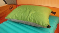 The Ultimate Backpacking Outfit -- Cocoon Ultralight Aircore pillow. 4 oz and folds down to fist-sized.