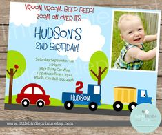 LITTLE CARS and TRUCKS Birthday Invitation by littlebirdieprints, $15.00