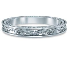 Antique Floral Wedding Ring in White Gold  $450