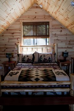 A rustic look for a cabin in the mountains. Sleep well, in the morning we go fishing in the lake out front.