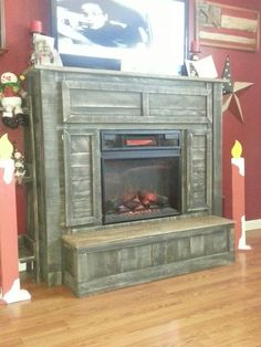 fireplace mantle made from pallets Pallet Fireplace, Fireplace Remodel, Fireplace Mantle, Fireplace Surrounds, Fireplace Design, Pallet House, Rustic Fireplaces, Pallet Crafts, Handmade Furniture
