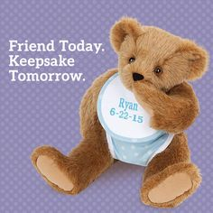 First teddy, forever friend! #NewBaby #BabyGift #TeddyBear #VermontTeddyBear Vermont Teddy Bears, 3 Bears, Unique Baby Gifts, Teddybear, Friends Forever, Baby Love, New Baby Products, Toys, Cute