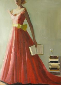 Paige Reads Madame Bovary Original Oil Painting by janethillstudio