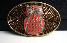 Owl Belt Buckle for Women with Sparkly Rhinestones by AngelGrace on etsy