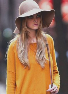So gossip girl and i love the mustardy orange with a big floppy hat.