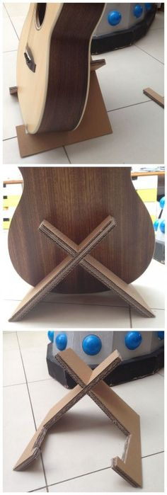 Подставка под гитару из картона своими руками. Идея того как сделать мега простую подставку под акустическую гитару из коробочного картона.