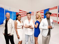 (l-r) Howie Mandel, Mel B, Simon Cowell, Heidi Klum, Nick Cannon