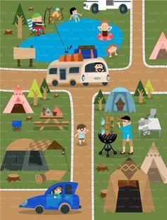 [일러스트]여름 캠핑