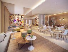 Muitas cores e formas na perspectiva ilustrada do salão de festas infantil. | Panamerica Brickell - Santo Amaro - São Paulo - SP