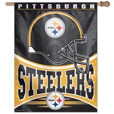 Pittsburgh Steelers Helmet Vertical Banner Flag - 27'' x 37''