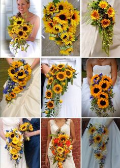 cascading-sunflower-bouquets