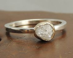 White Uncut Diamond Engagement Ring, 14k Gold and Sterling Silver Rough Diamond Ring, Handmade Diamond Engagement