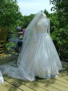 Kate Middleton style Vintage Wedding Dress lace sleeves fitted bodice bridal gown. $635.00, via Etsy.